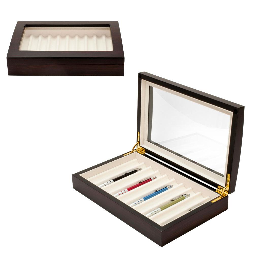 Ebony Wood 10 Fountain Pen Box Organizer Display Storage