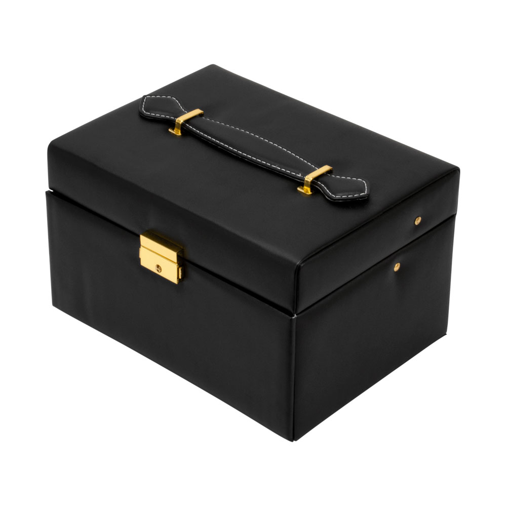 womens jewelry watch ring box black lockable leather 2
