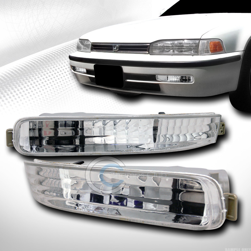EURO CHROME CLEAR FRONT SIGNAL PARKING BUMPER LIGHTS LAMP 1992-1993 HONDA ACCORD