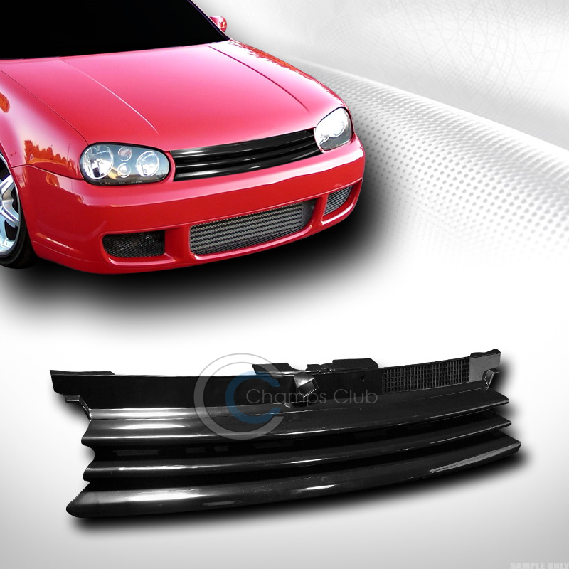 BLK HORIZONTAL BADGELESS FRONT HOOD GRILL GRILLE W/CAP