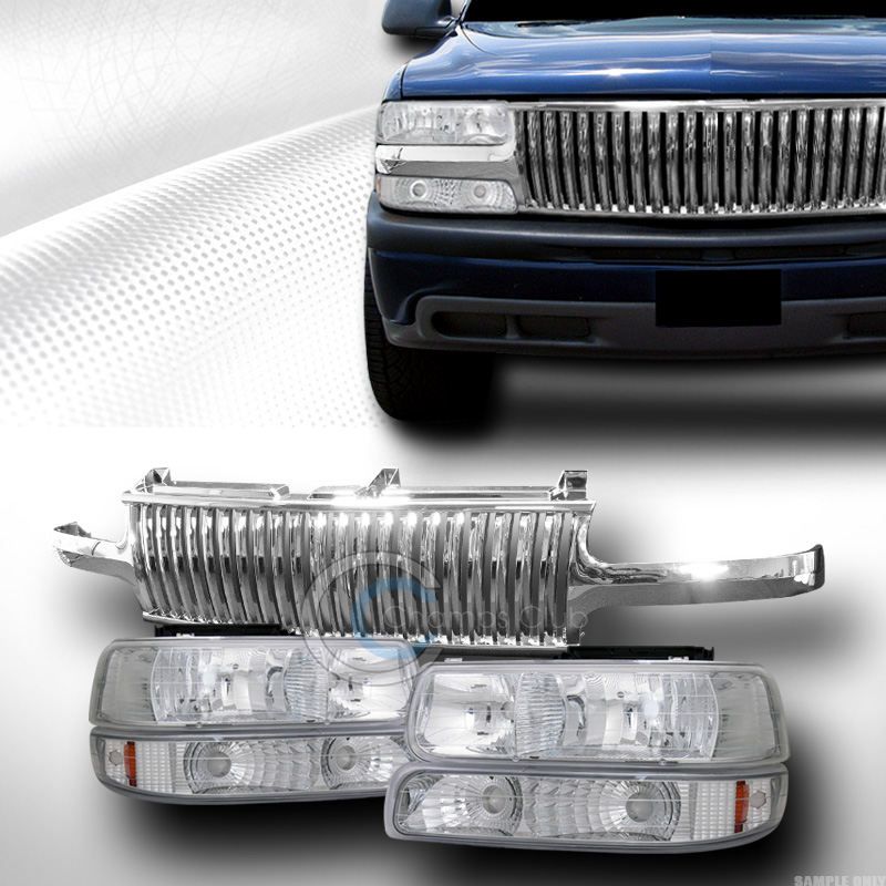 chrome lights signal bumper front grill grille vt 99 chevy silverado ebay