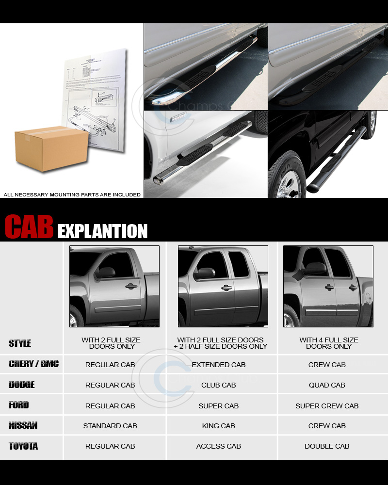 """3"""" SS CHROME SIDE STEP NERF BARS Running Board 99-14 CHEVY"""