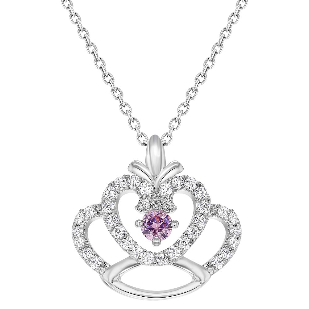 rhodium plated princess crown pendant pink clear cz girls