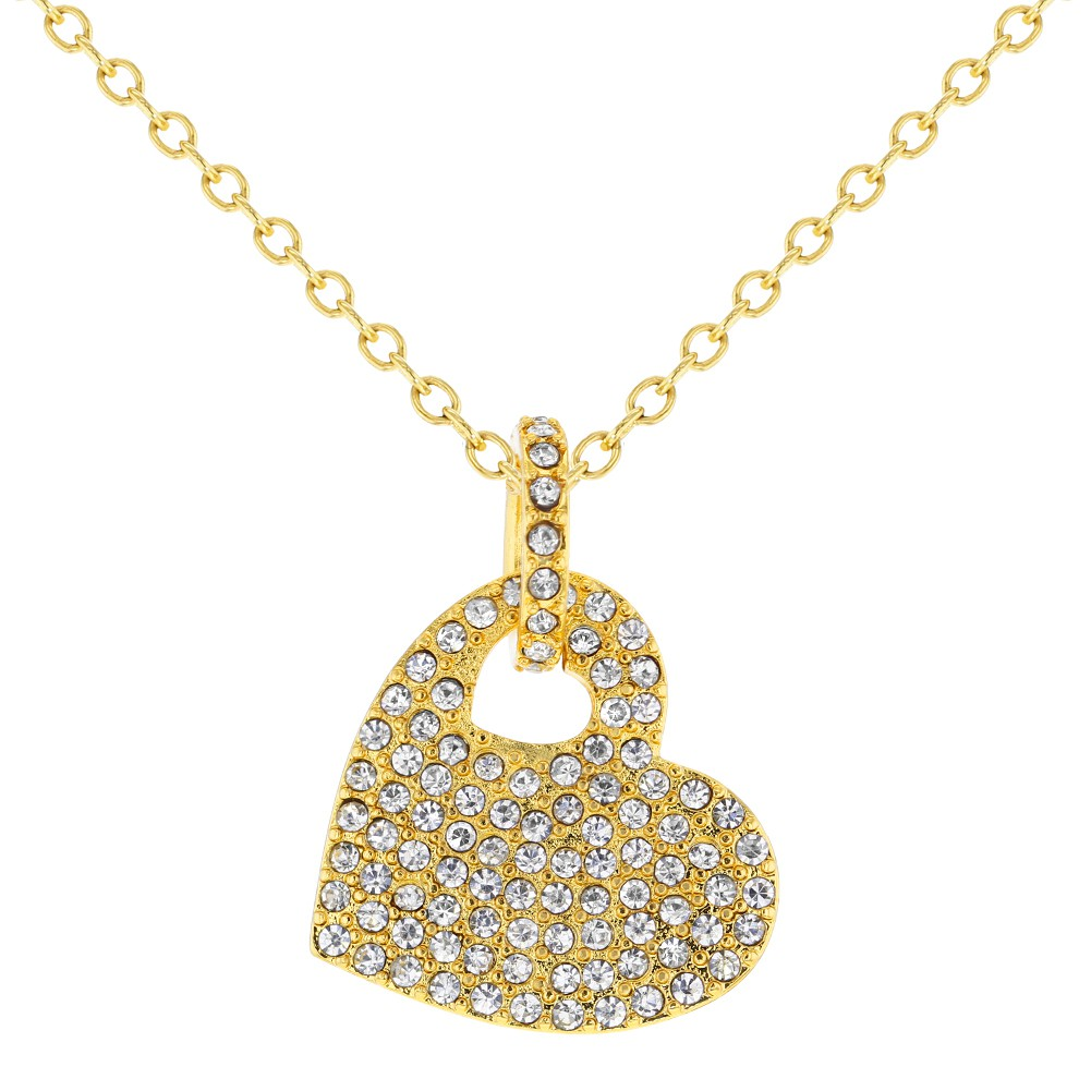 In Season Jewelry Gold Plated 18k Micro Pave CZ Crystal Love Amor Heart Pendant Necklace 19