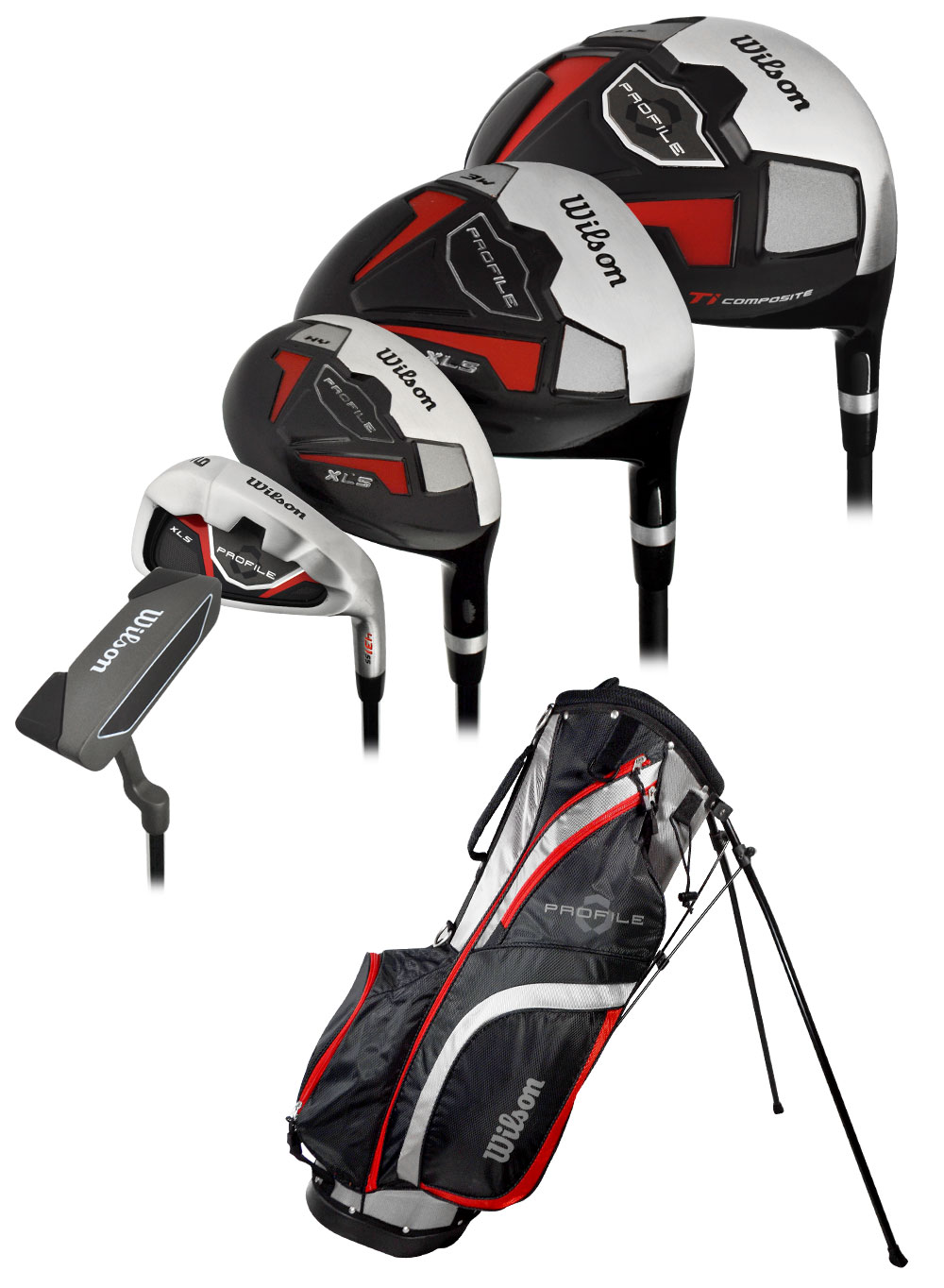 Wilson Golf Profile XLS Complete Set With Bag Graph/Steel +1 Inch Uniflex