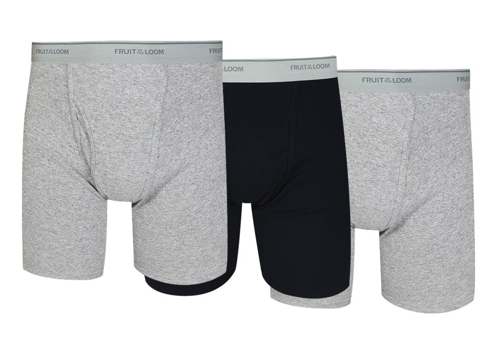 Fruit of the Loom 3-Pack Black/Grey Boxer Briefs Size Medium