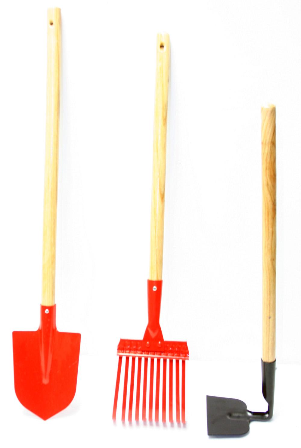 New kid size 3pc mini garden tool set rake shovel hoe ebay for Gardening tools wholesale