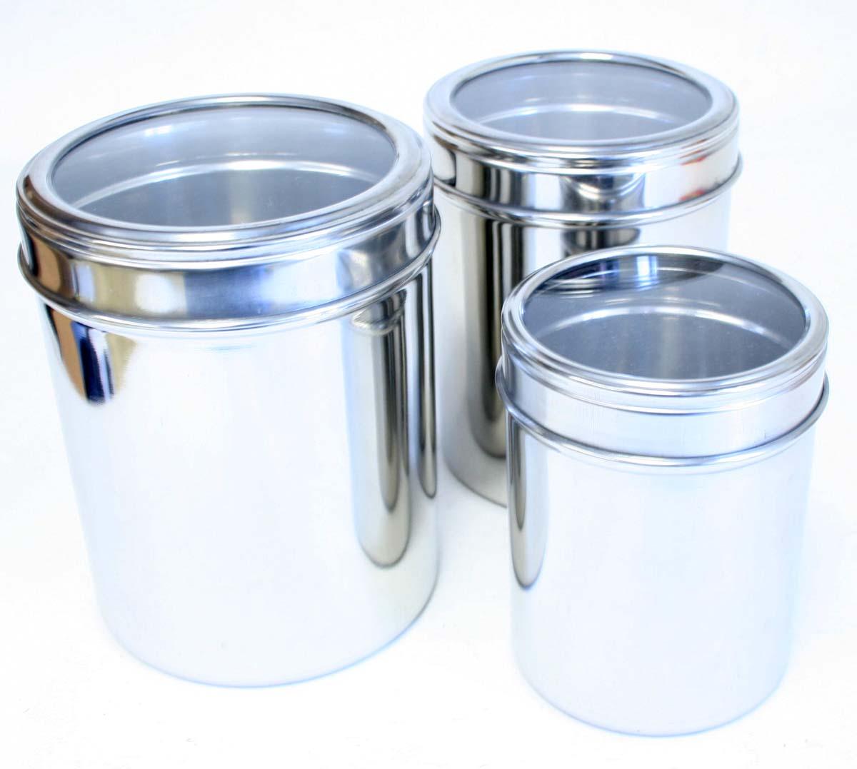 3 piece storage canisters kitchen set w glass lids ebay