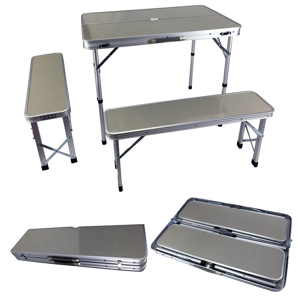 New Aluminum Camping Table & Chairs Folding Camp Set w Umbrella Stand &a