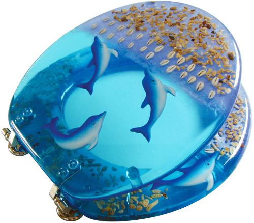 Blue Ocean Dolphin Seashells Acrylic Resin Toilet Seat