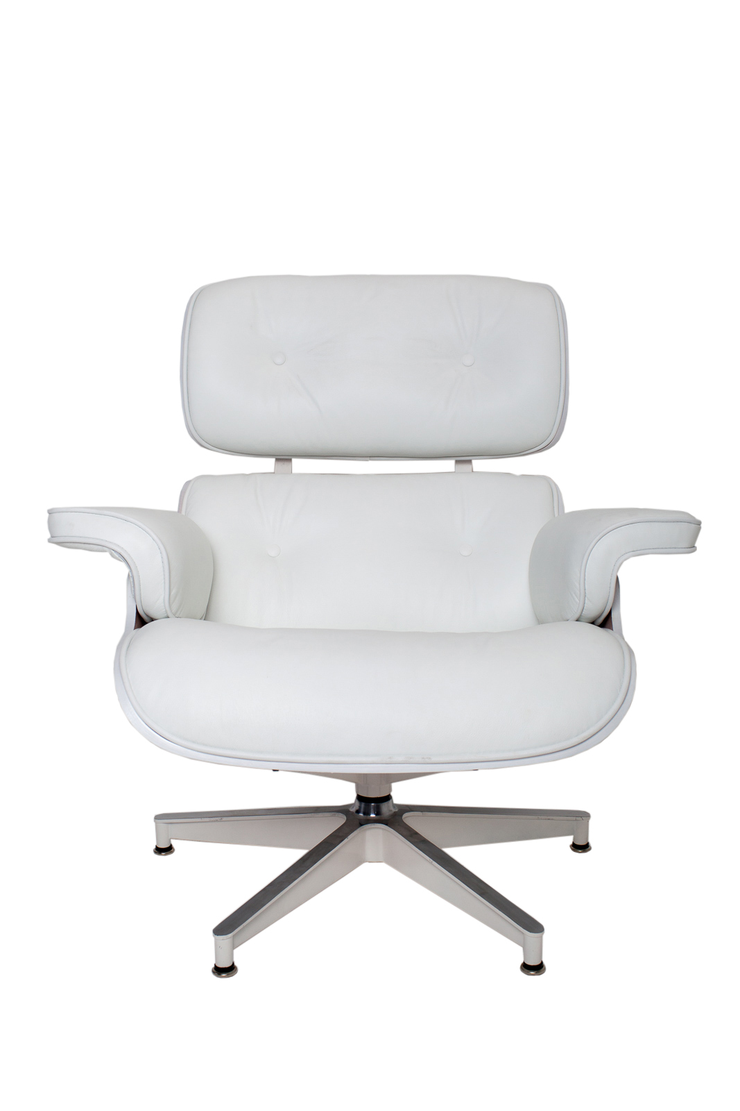 new white leather white wood eames style lounge chair ottoman set