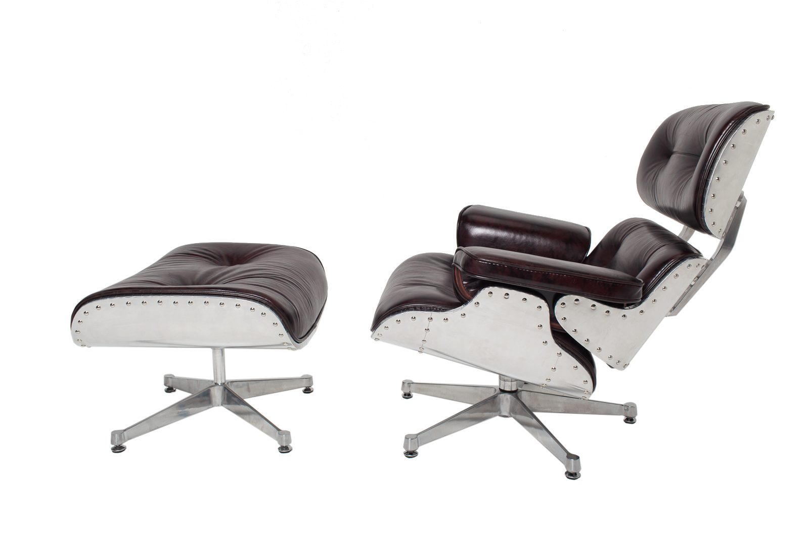 NEW Vintage Leather Aluminum Aviator Metal Eames Style Lounge Chair Ottoman Set