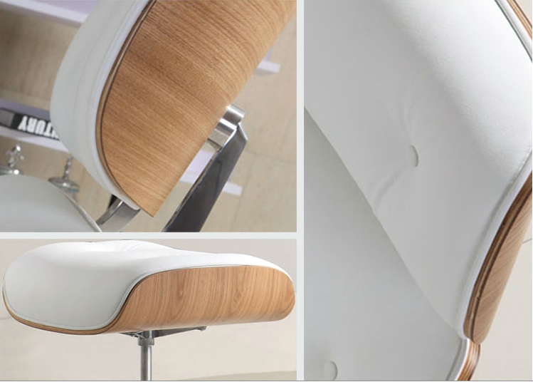 ash wood eames style lounge chair ottoman premium top grain white