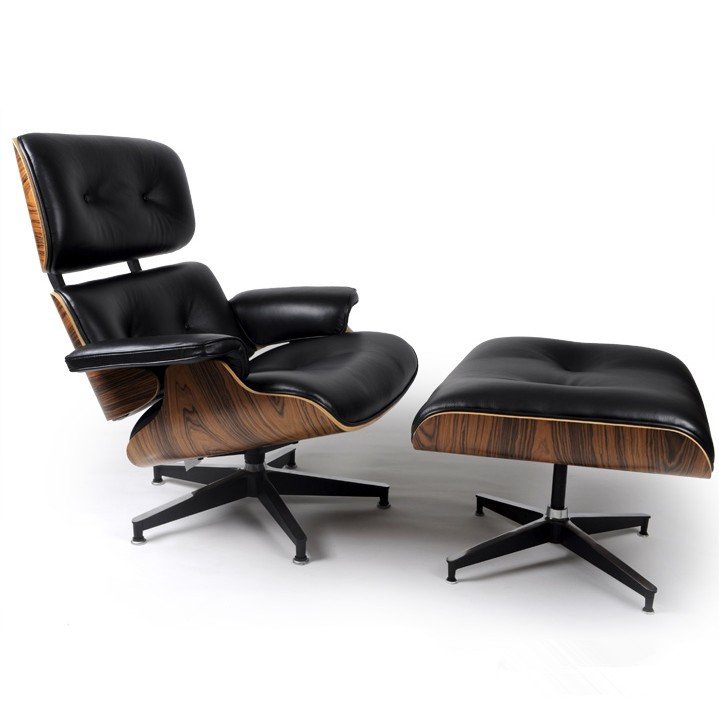 Palisander Wood Eames Style Lounge Chair Ottoman Premium Top Grain Black Leat