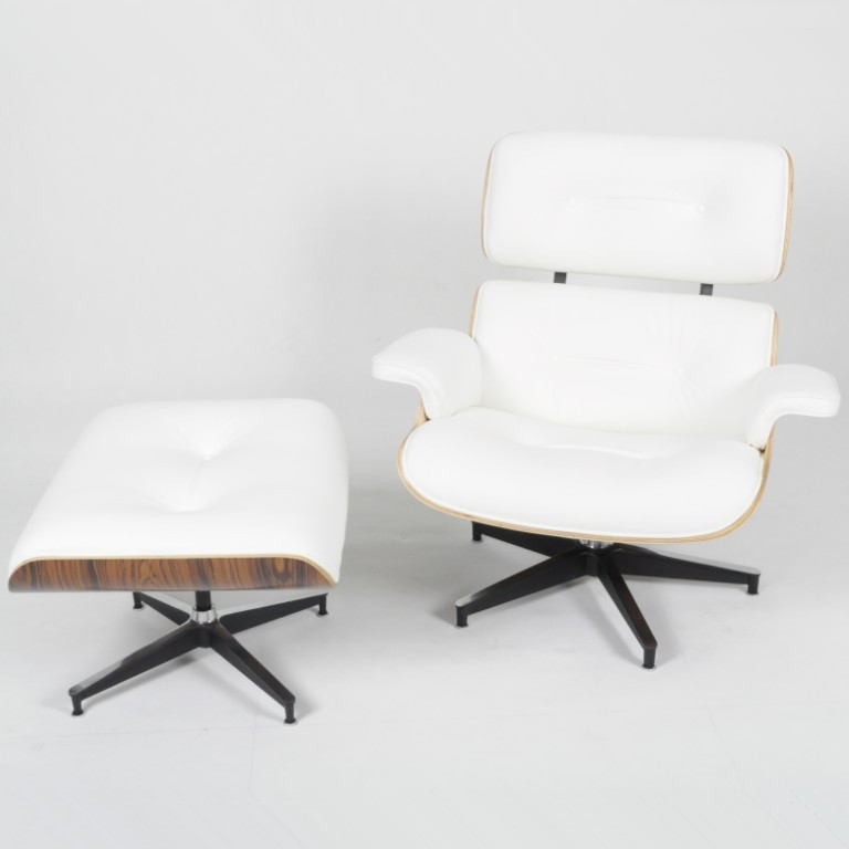 NEW Palisander Wood Eames Style Lounge Chair Ottoman White Leather Set EBay