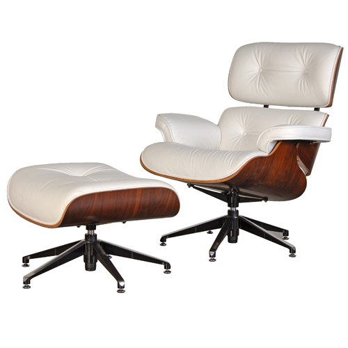 Dark Rosewood Eames Style Lounge Chair Ottoman Premium Top Grain White Leather