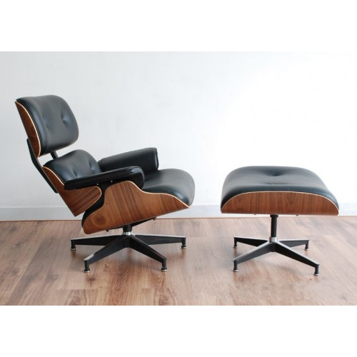 eames replica lounge chair ottoman premium top grain black leather