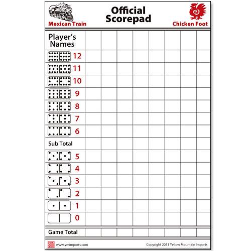 Domino Scorepad Mexican Train Chickenfoot Score Pad : eBay