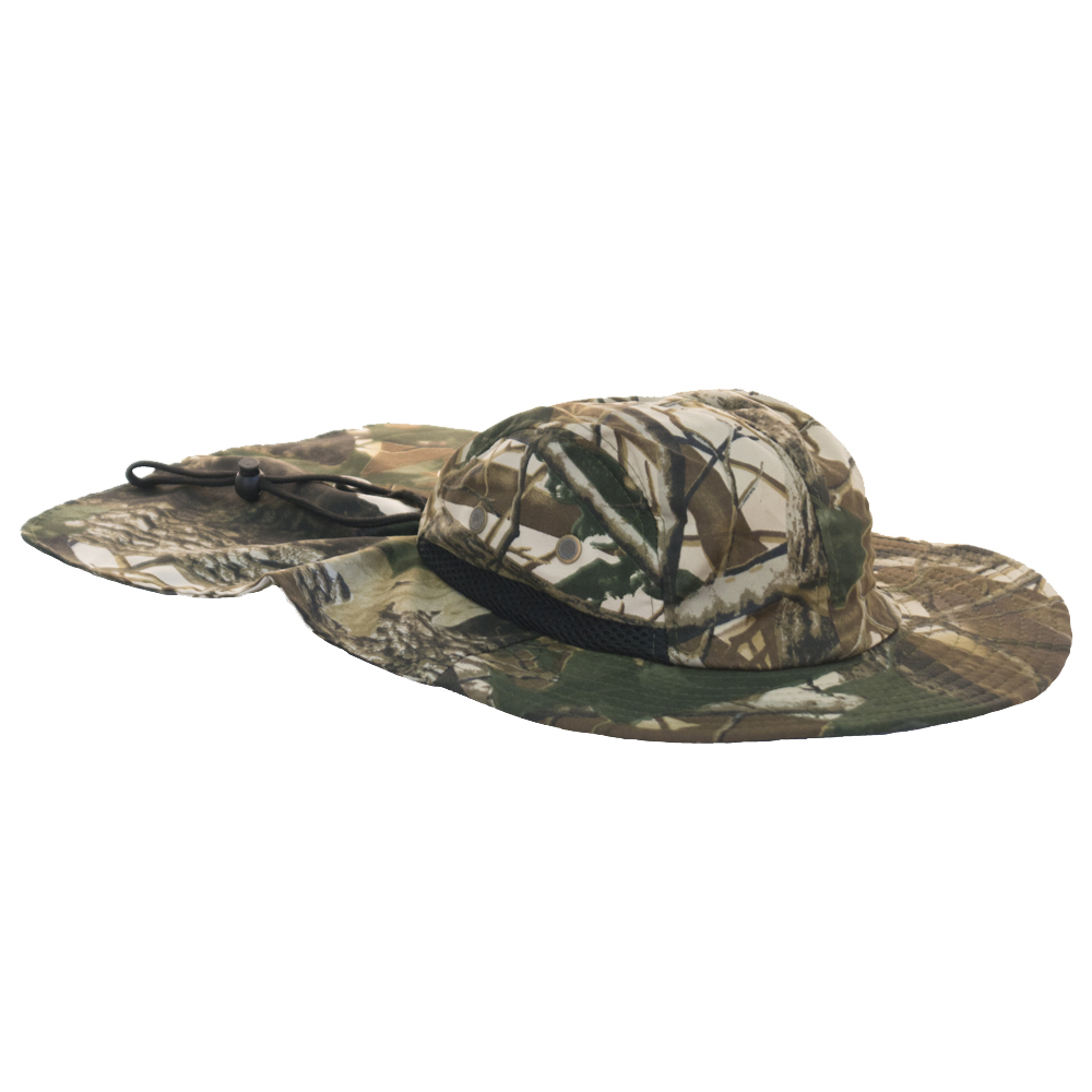 Camouflage mesh outdoor fishing hat with neck flap for Outdoor fishing