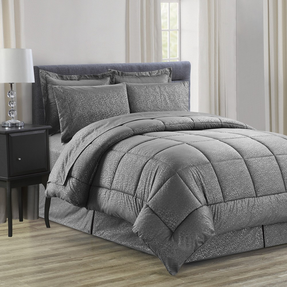 8 piece vine ultra soft bed in a bag comforter set in king queen ebay. Black Bedroom Furniture Sets. Home Design Ideas