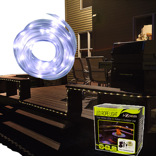 16 5 feet solar powered white 50 led rope light for indoor amp outdoor