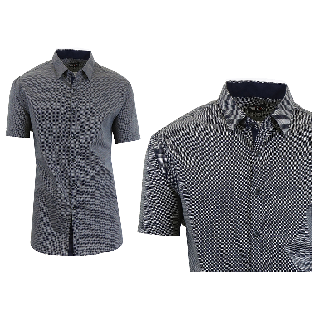 Galaxy by harvic men 39 s patterned button down slim fit for Mens short sleeve patterned shirts