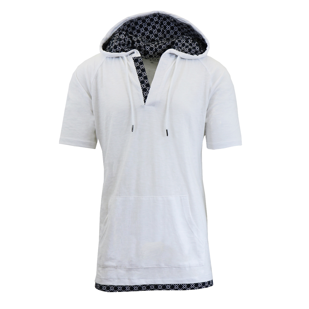 Galaxy by Harvic Men's Marled Short Sleeve Henley Hoodie with ...