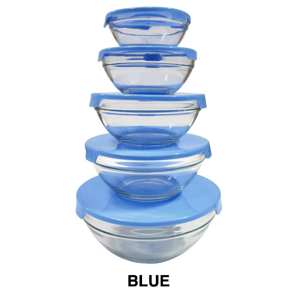 10 piece decorative bpa free glass storage nesting bowl set with clip lids ebay. Black Bedroom Furniture Sets. Home Design Ideas