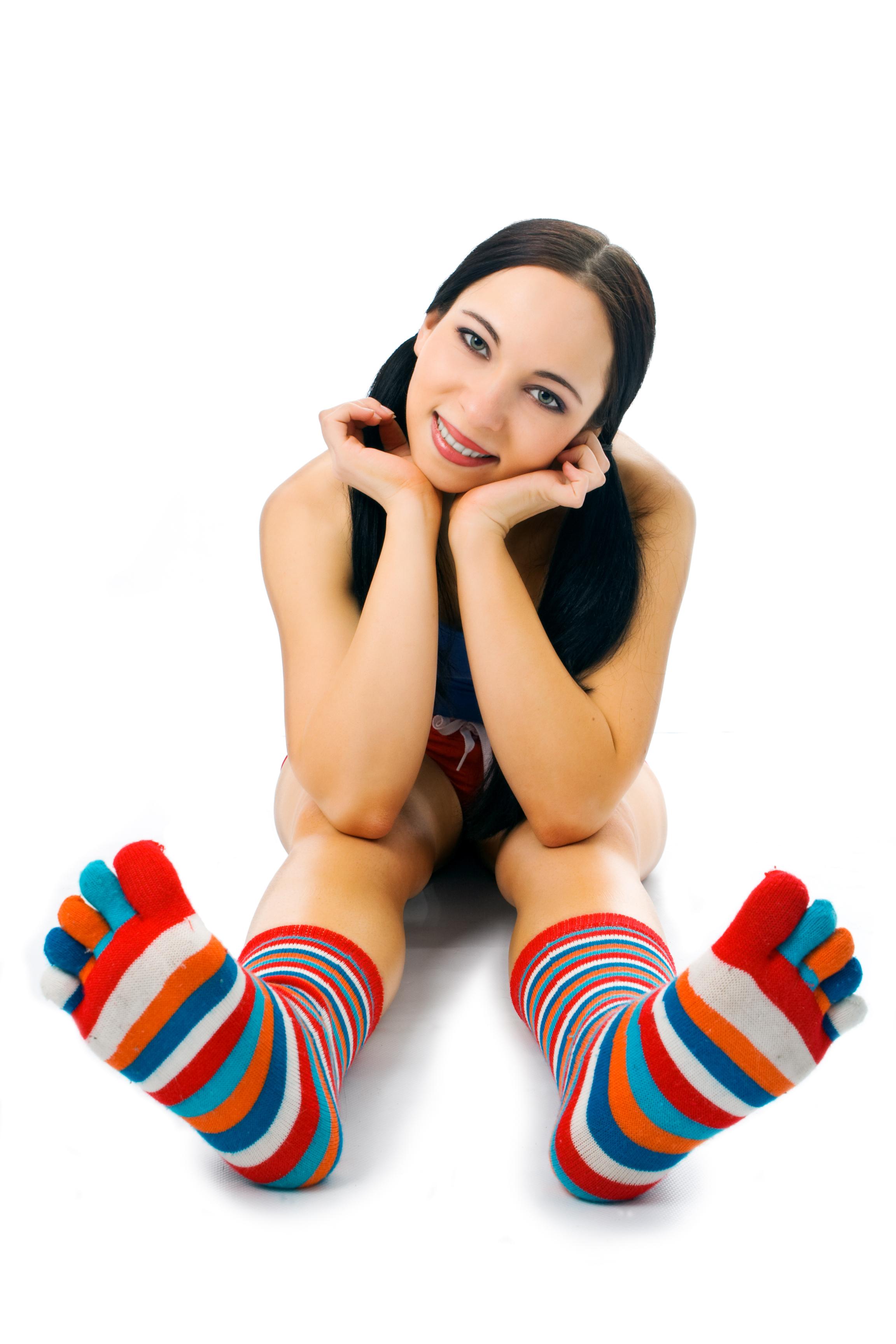 nude women in toe socks