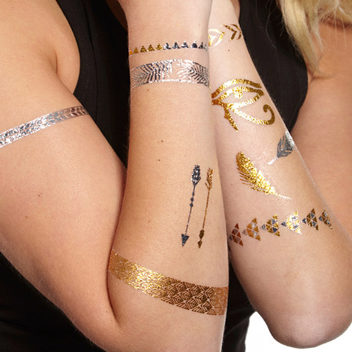 36 metallic jewelry tattoos body art temporary tattoos for How to use temporary tattoos