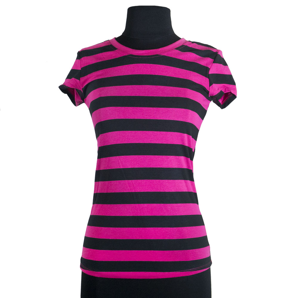 Ladies 39 Casual Cotton Striped Short Sleeved Round Neck T