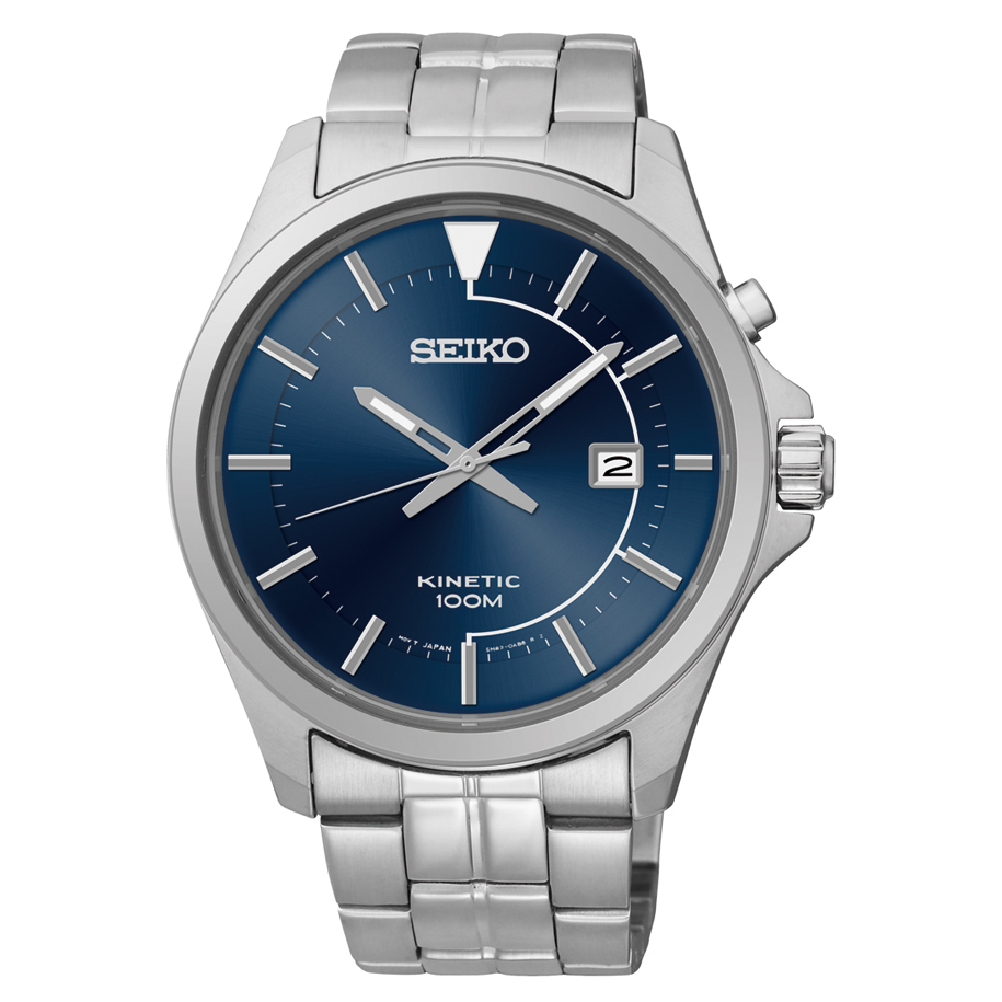 new seiko mens stainless steel dial kinetic watch ska581. Black Bedroom Furniture Sets. Home Design Ideas