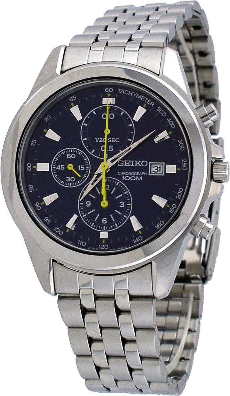new seiko mens blue stainless steel chronograph
