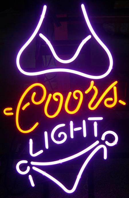 Coors Light Purple Bikini Neon Light Beer Pub Bar