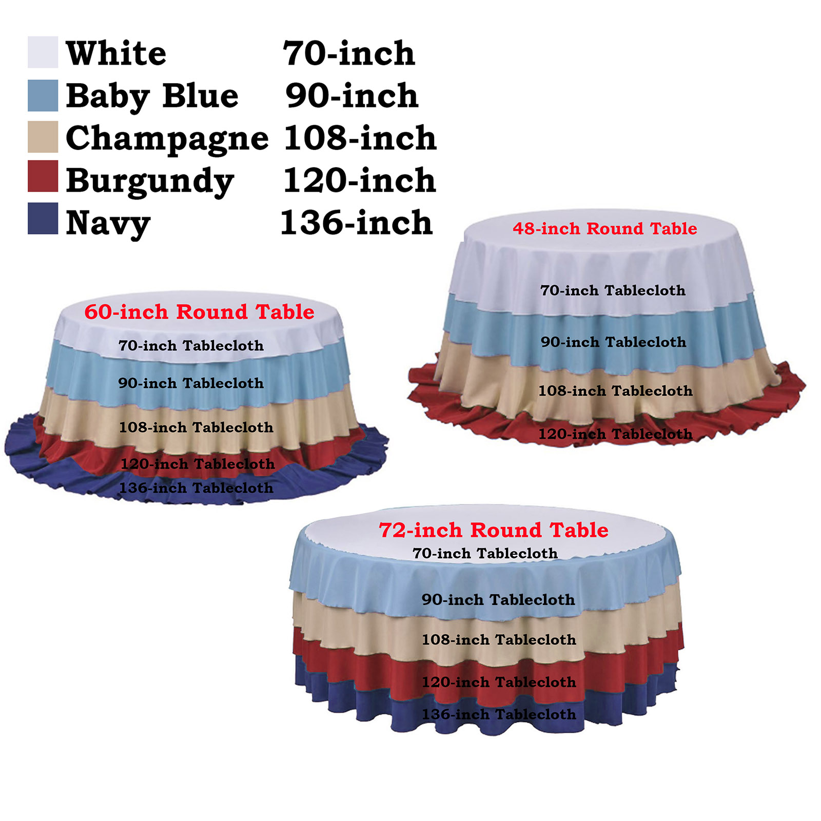 108 Quot Round Polyester Tablecloth
