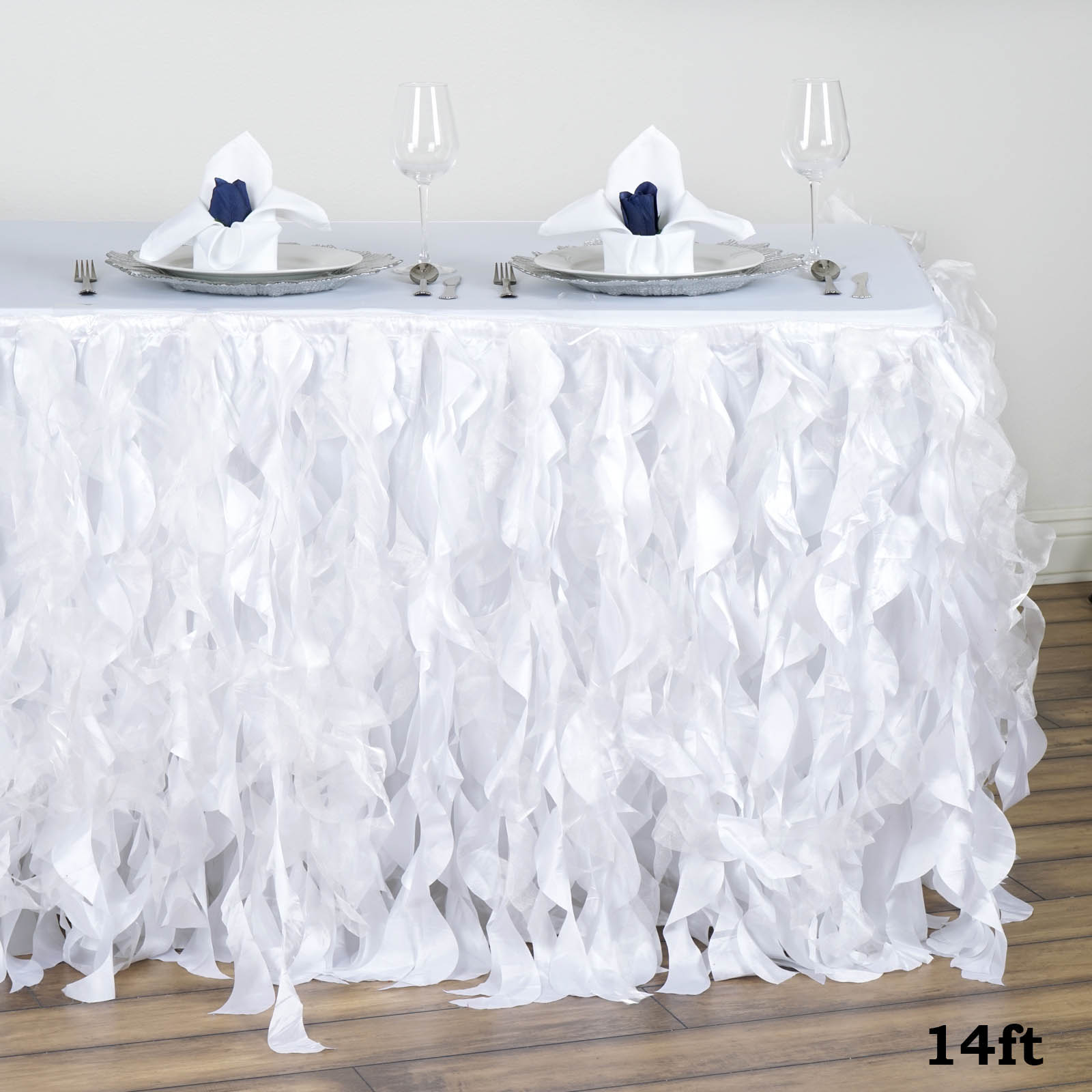 Enchanting Curly Willow Taffeta Table Skirt Wedding Decoration Table Covers