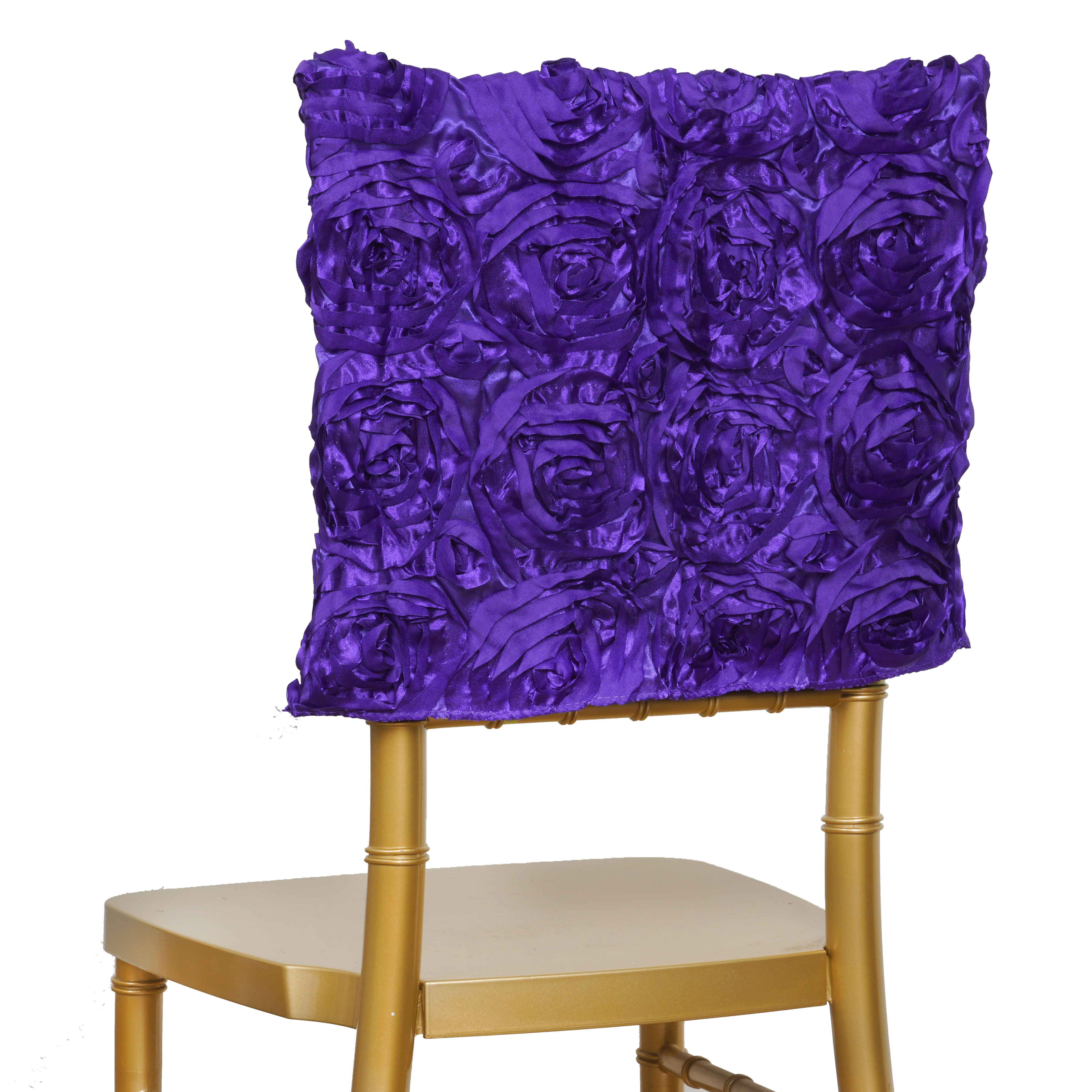 75 pcs CHAIR COVERS SQUARE TOP CAPS with RIBBON ROSES Wholesale