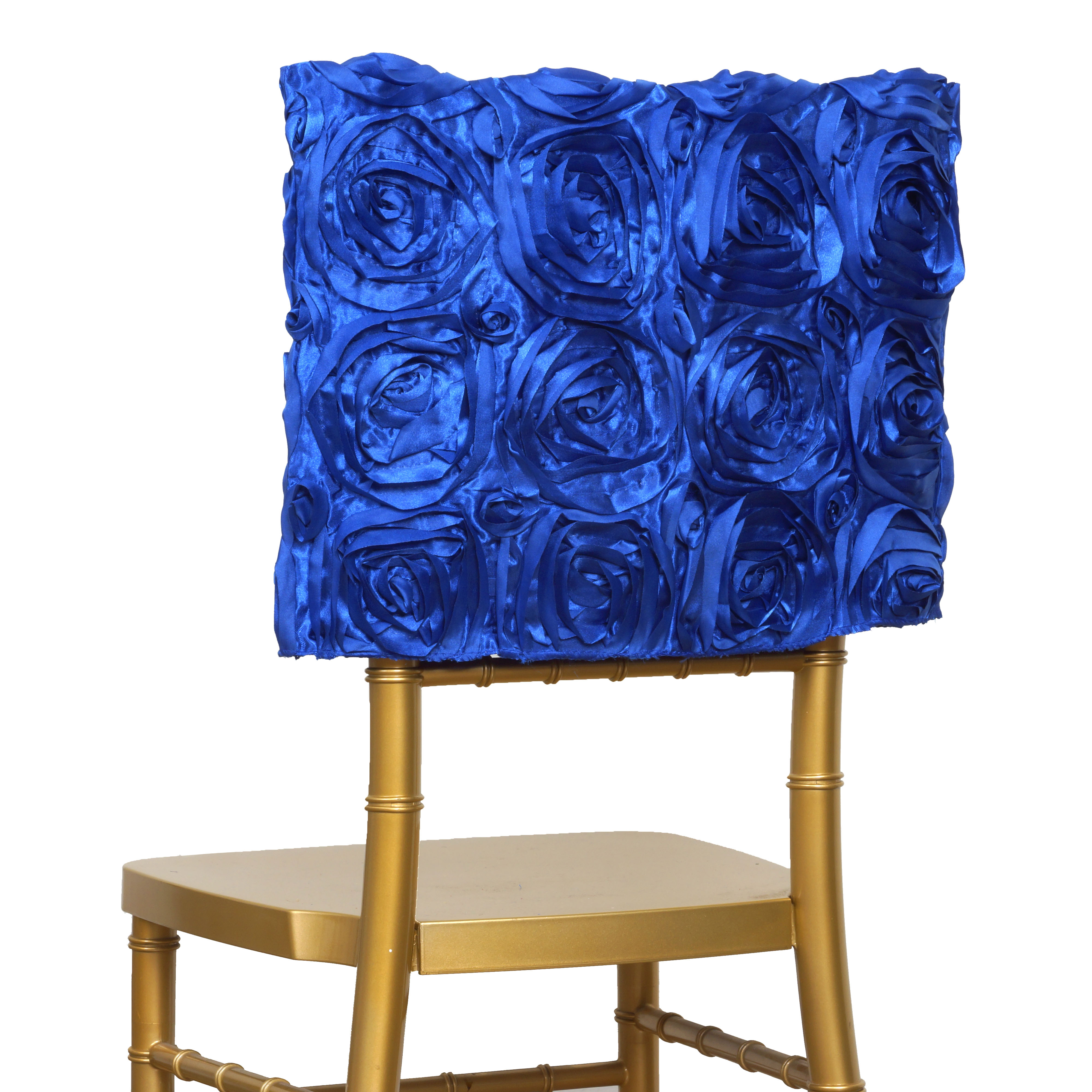 6 pcs CHAIR COVERS SQUARE TOP CAPS with RIBBON ROSES Party Wedding