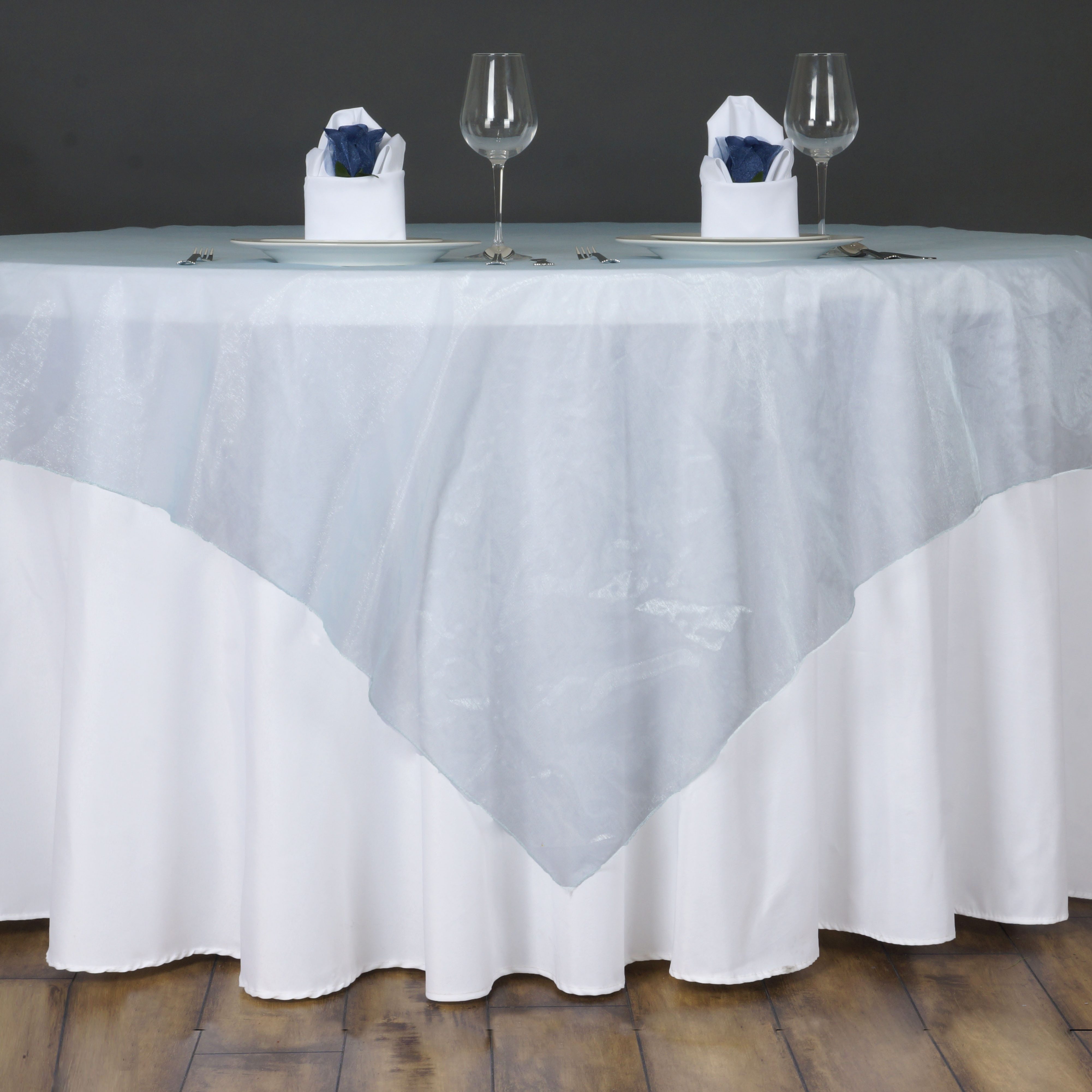 6 x sheer organza 60x60 square table overlays toppers wedding party linens sale ebay. Black Bedroom Furniture Sets. Home Design Ideas