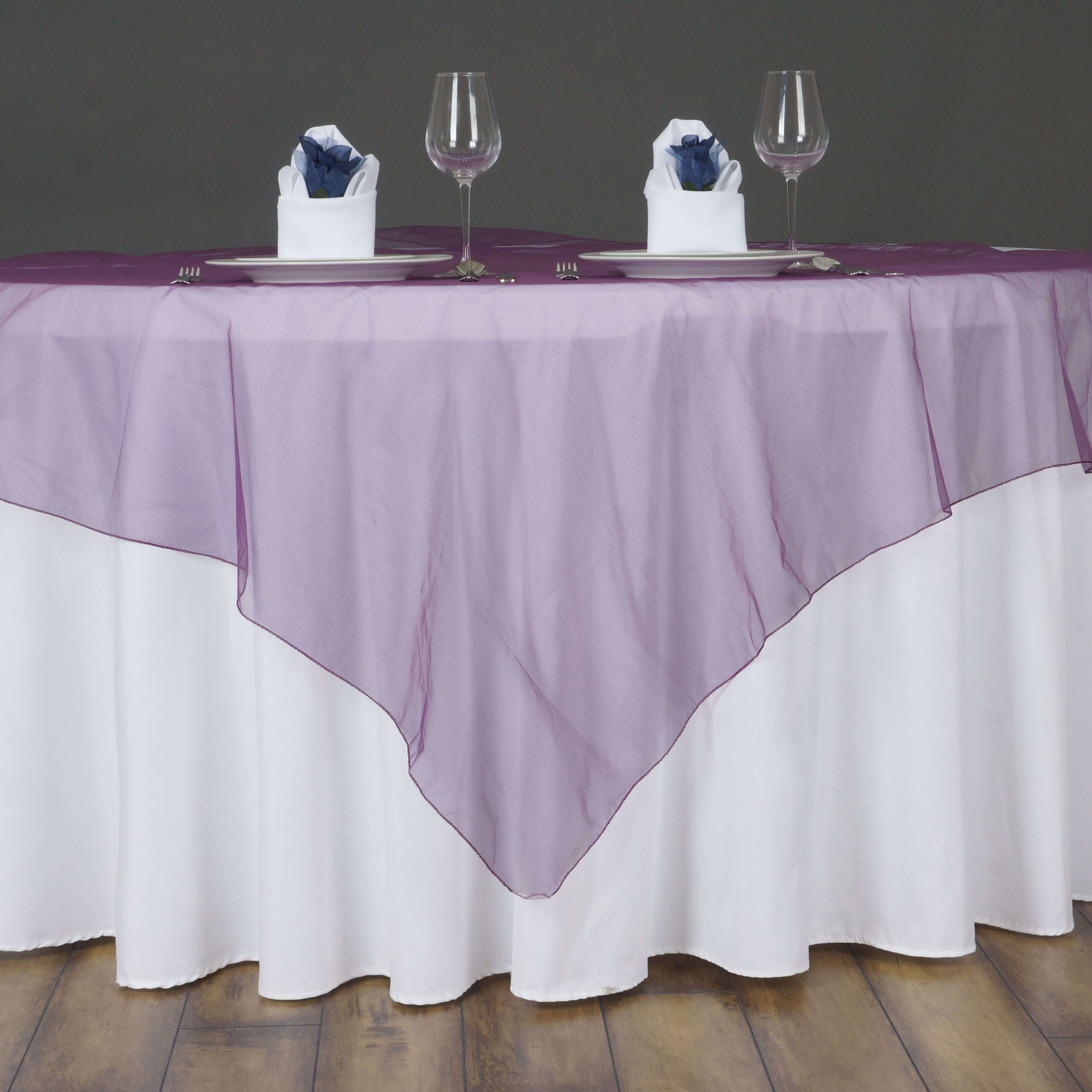 """6 X Sheer Organza 60x60"""" SQUARE Table OVERLAYS Toppers"""