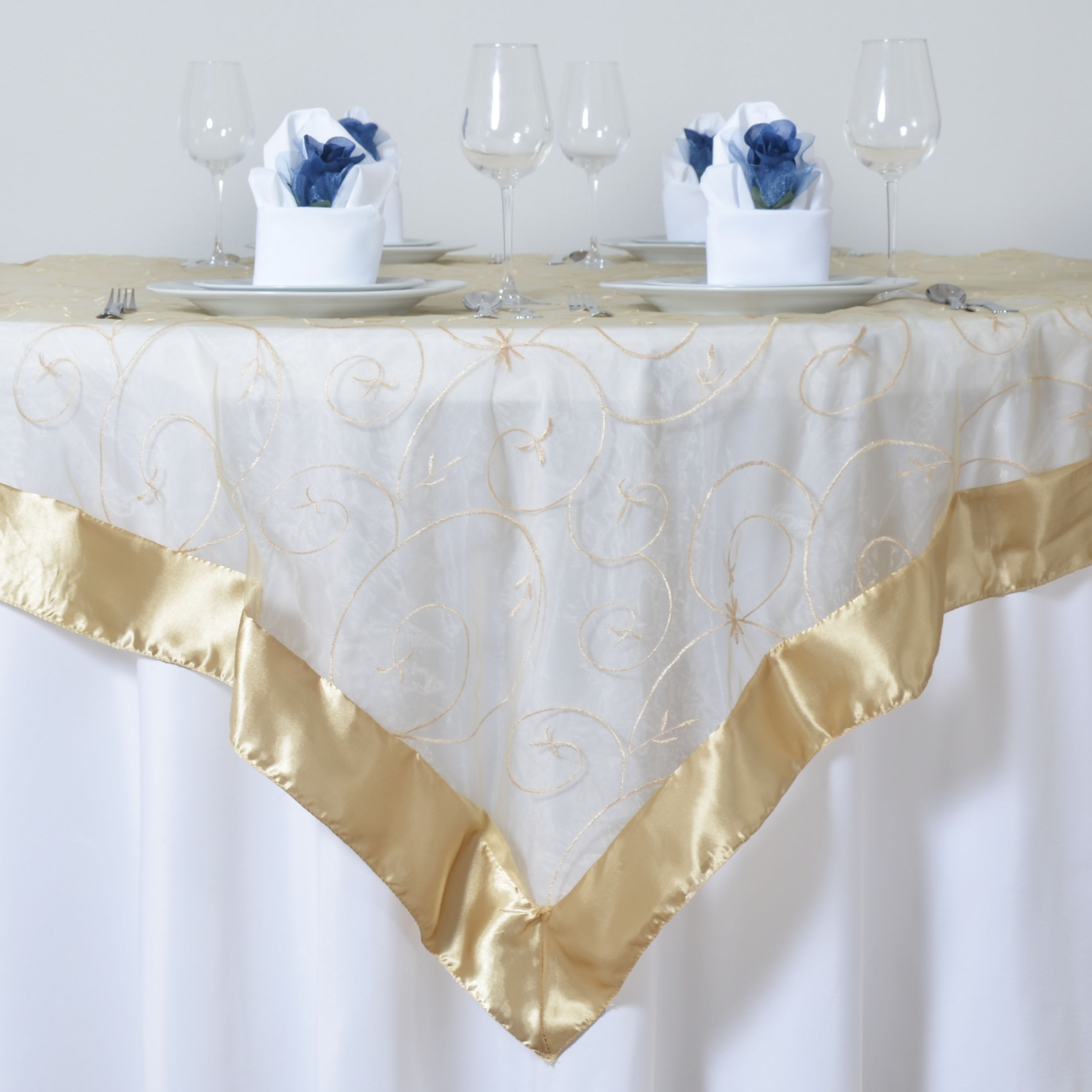 "Wedding Linen: 6 X Embroidered Organza 60x60"" SQUARE Table OVERLAYS"