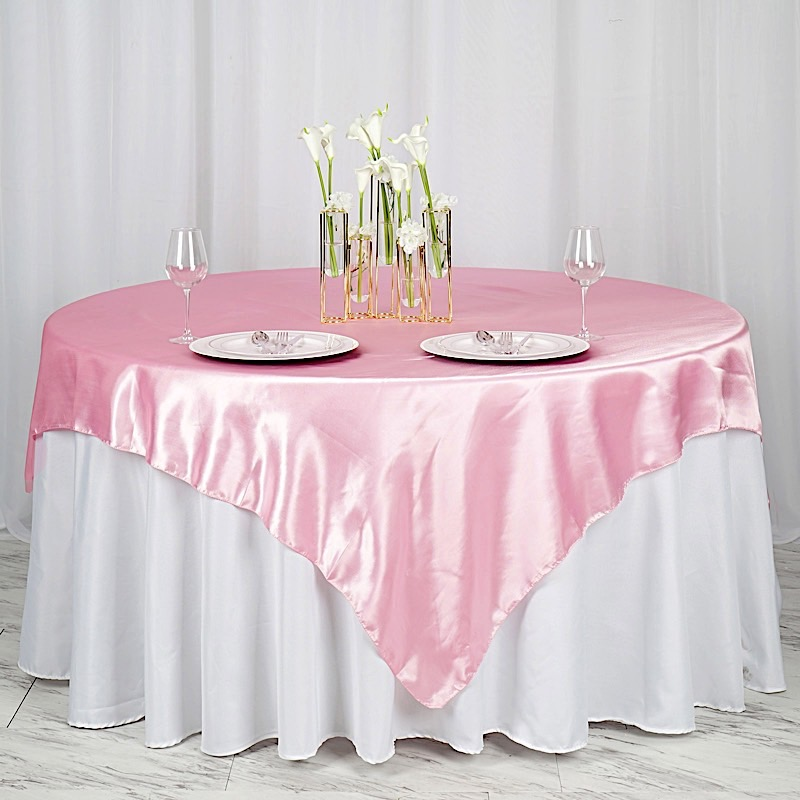 """5 SATIN SQUARE 72x72/"""" Table OVERLAYS Wedding Party Catering Covers Decorations"""