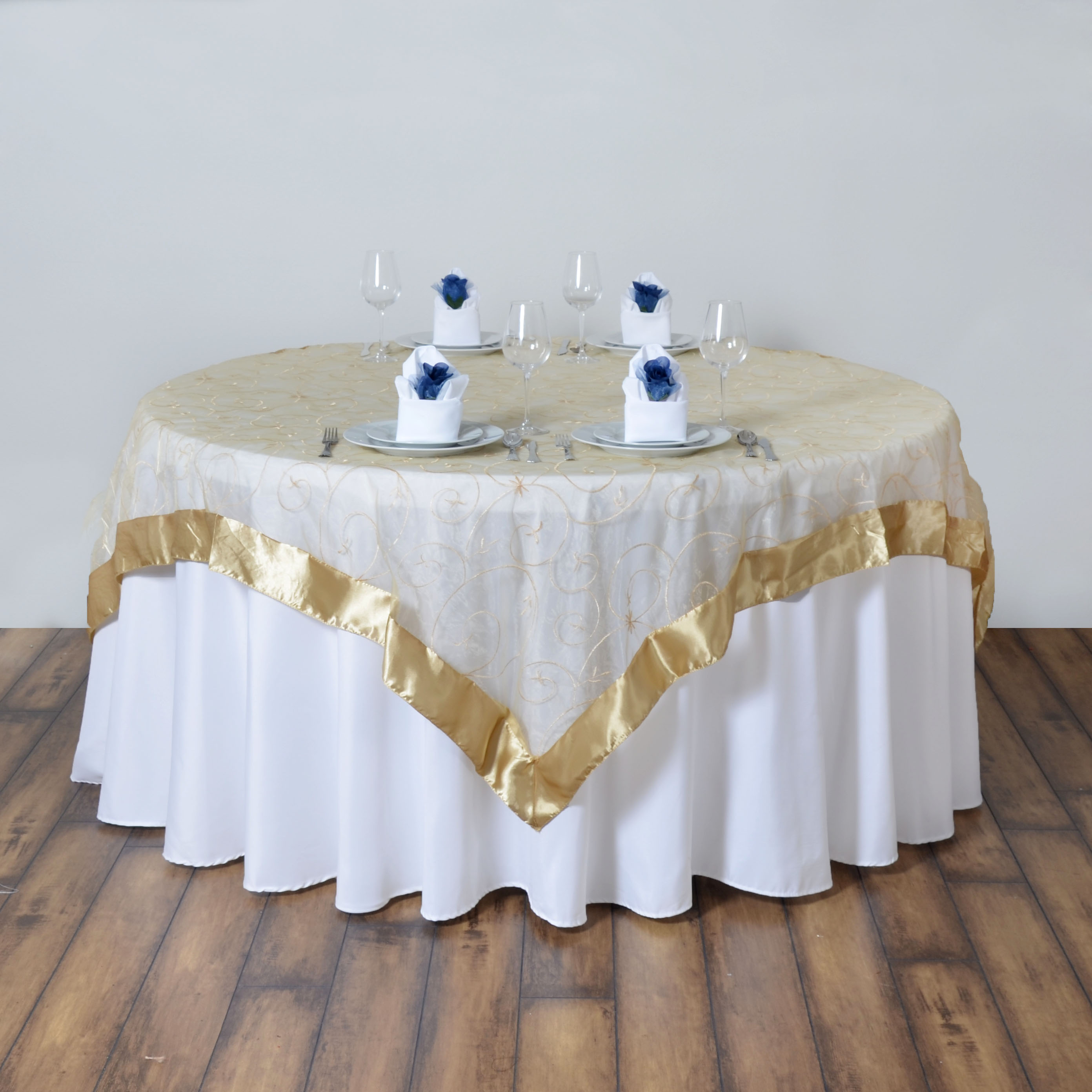 "Wedding Linen: 10 Embroidered Organza 60x60"" SQUARE Table OVERLAYS"