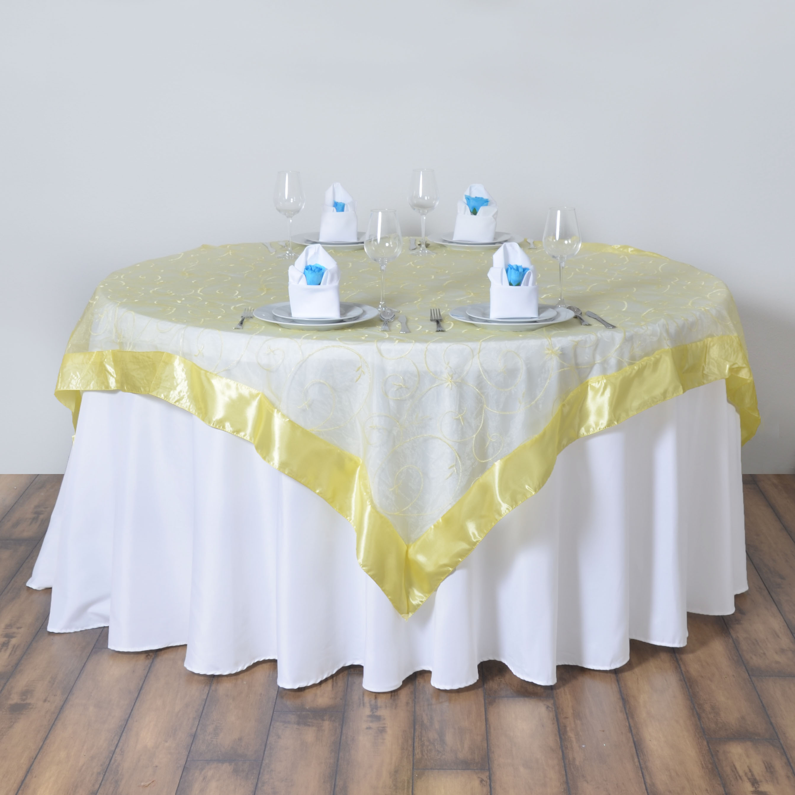 24 X Embroidered Organza 72x72 SQUARE Table OVERLAYS Wholesale Wedding