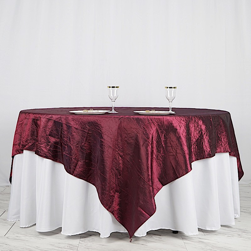 """10 CRINKLED 90x90"""" SQUARE Table OVERLAYS High Quality"""