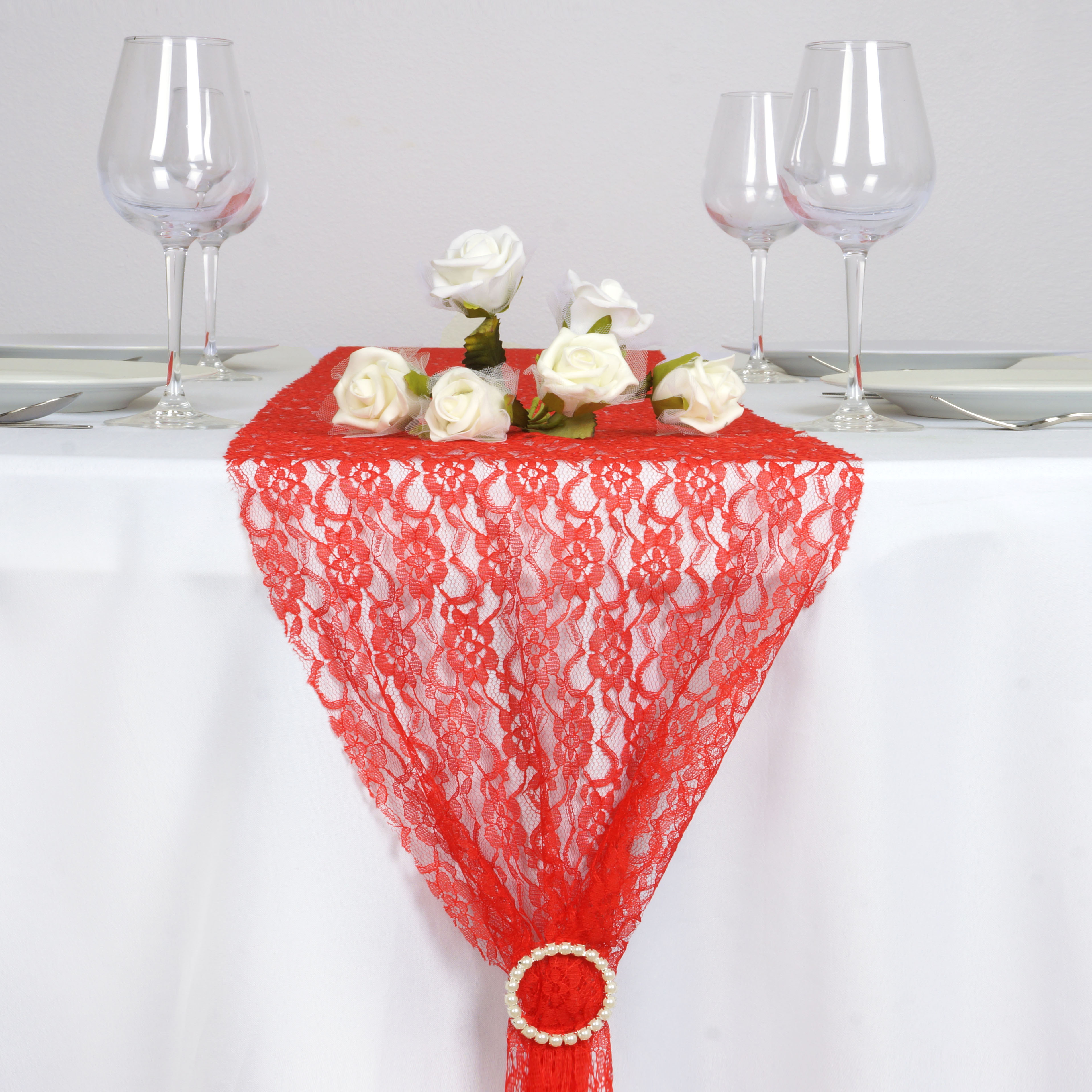 Red floral lace 12 x 108 table runner wedding party for 108 table runner