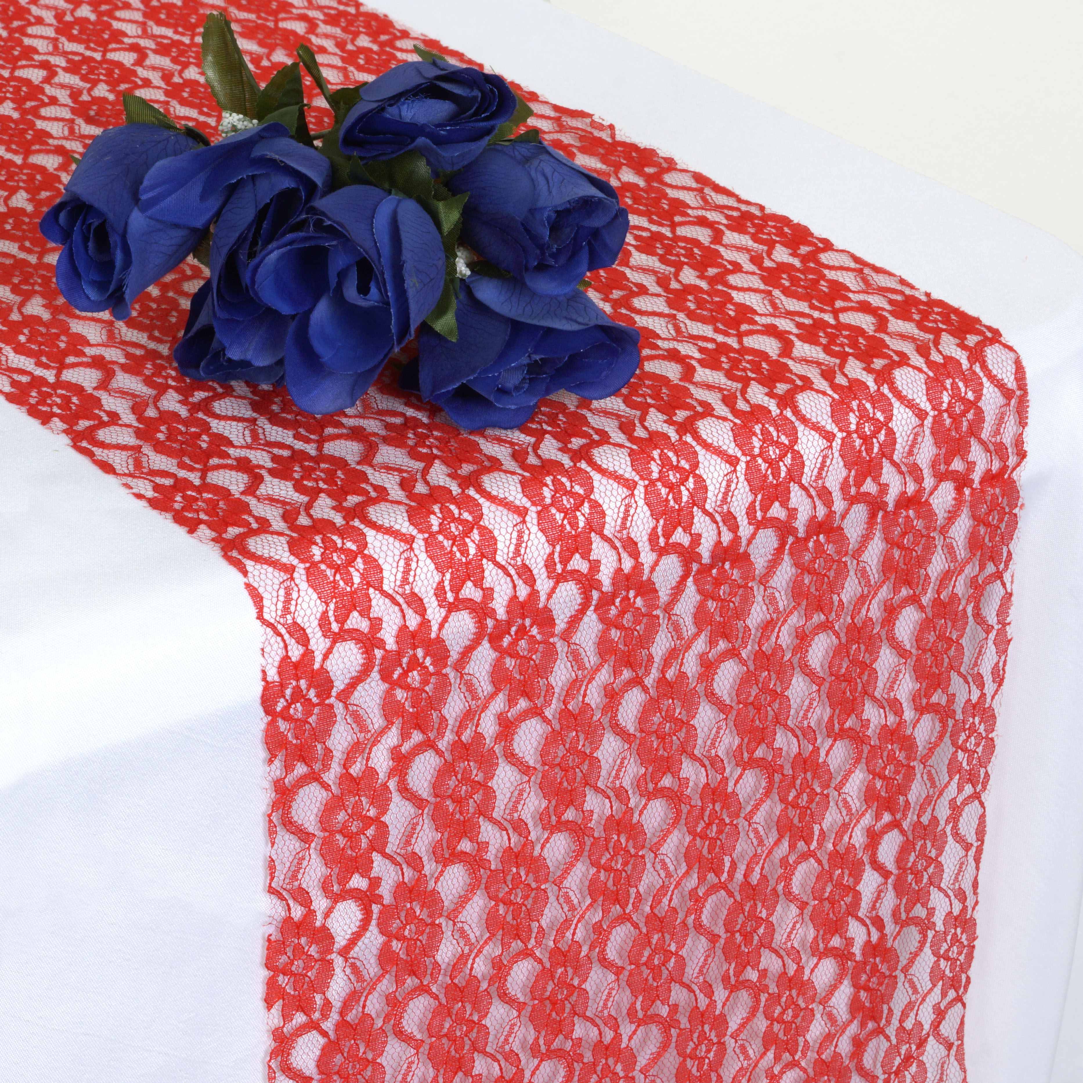 red floral lace 12 x 108 table runner wedding party. Black Bedroom Furniture Sets. Home Design Ideas