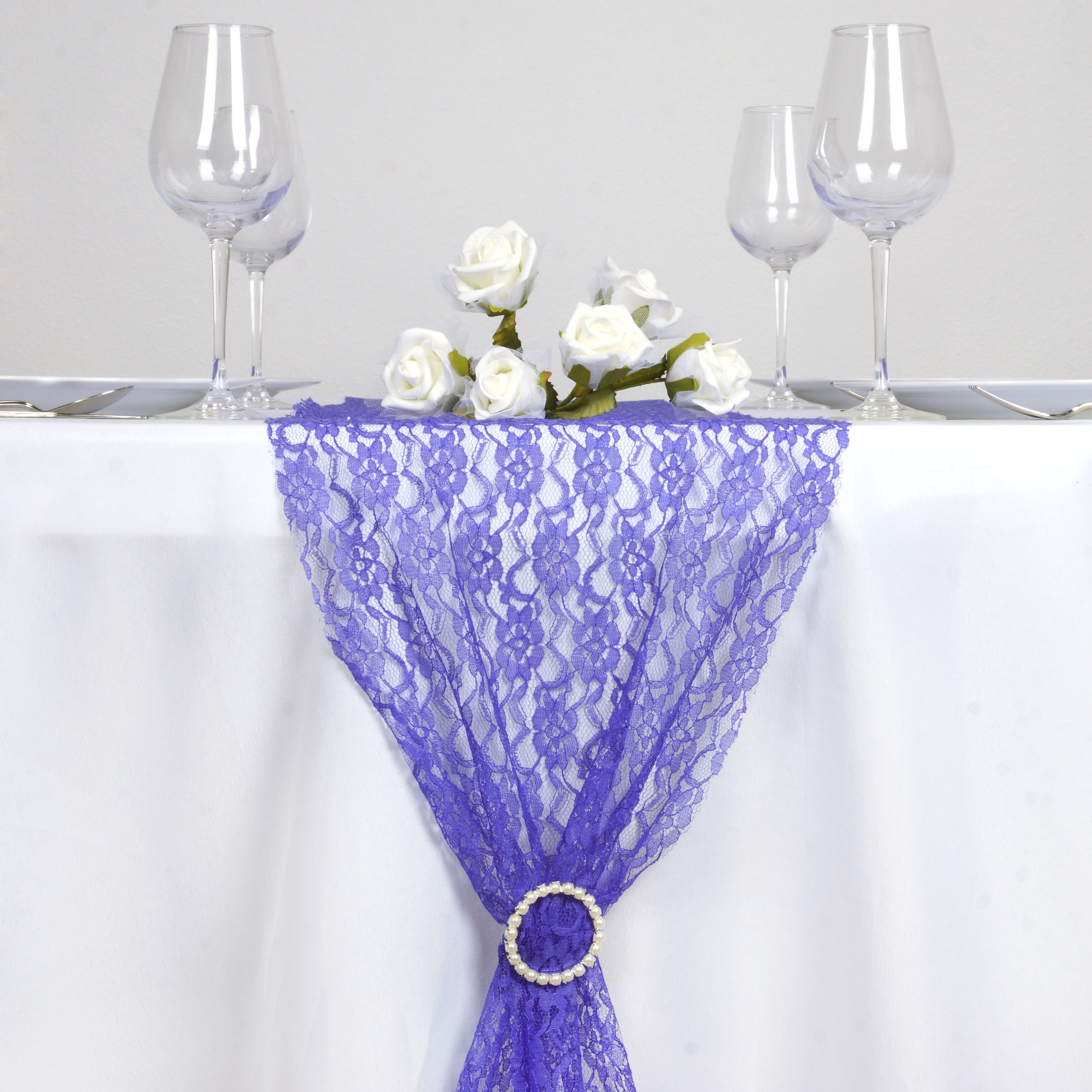 Royal Blue Floral Lace 14 X 108 Table Runner Wedding