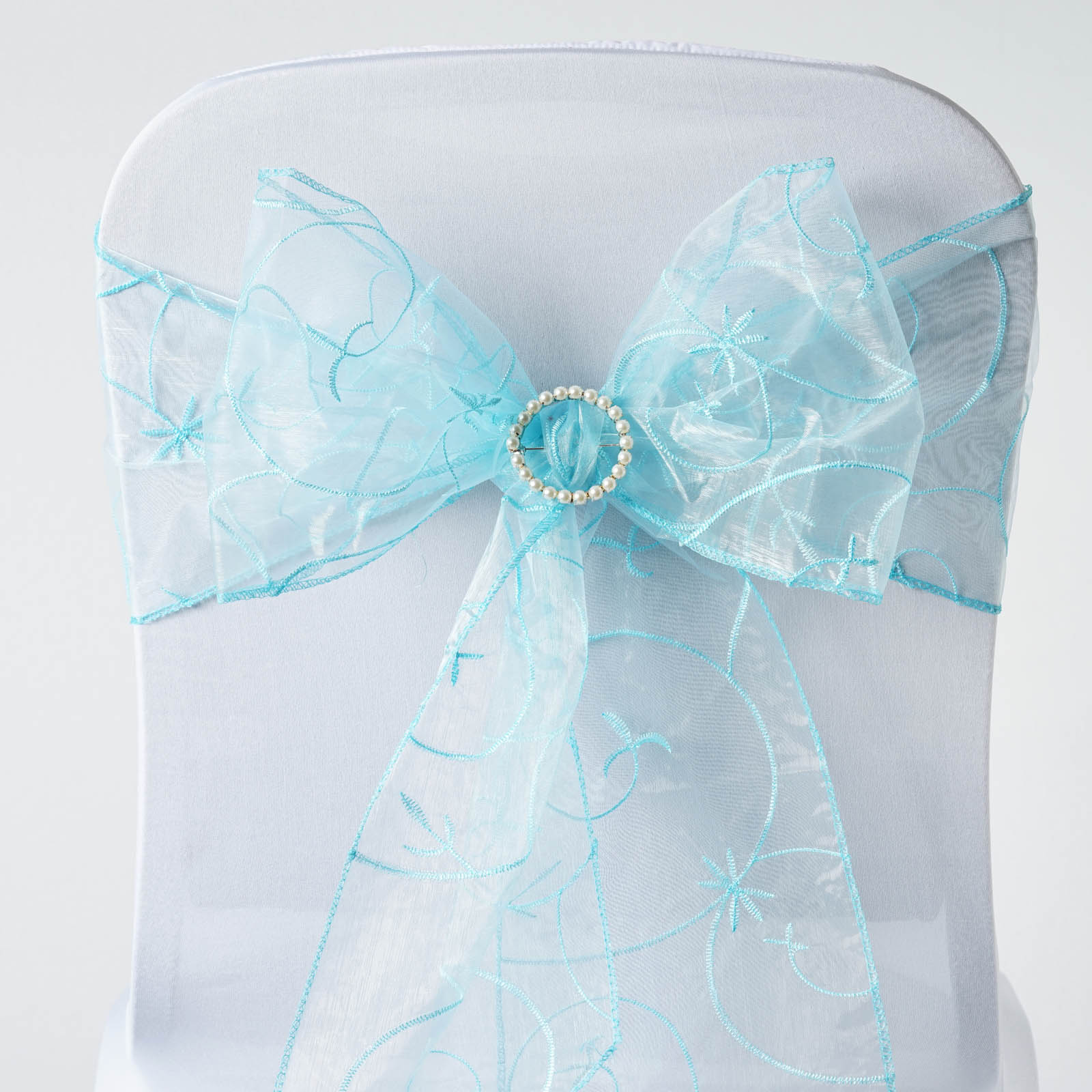 10 Light Blue Embroidered Organza CHAIR SASHES Ties Bows Wedding
