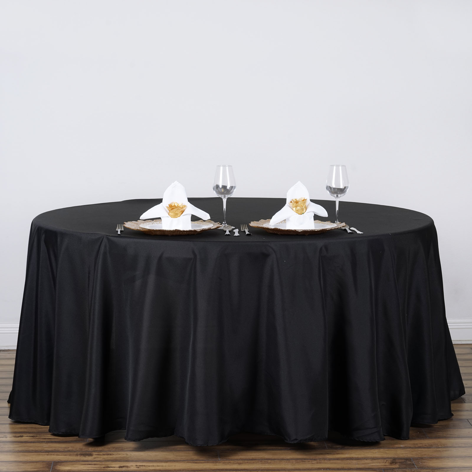 Black 120 round polyester tablecloth seamless wedding for 120 table cloth
